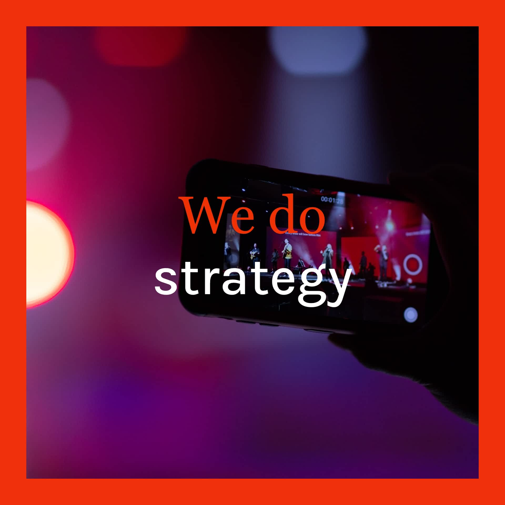 this image shows a guitar head and text we do strategy